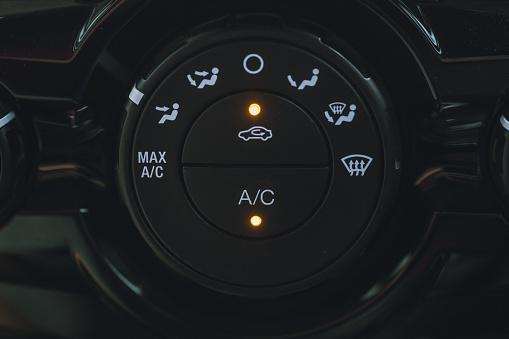 Closeup Car AC Air Conditioner Mode Selector.
